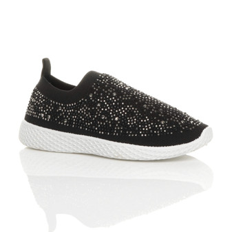 Front right side view of Black Slip On Diamante Comfort Knit Trainers Sneakers