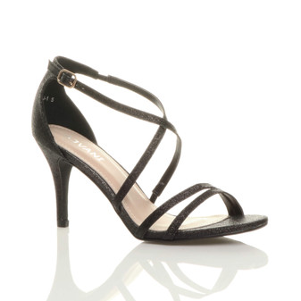 Front right side view of Black Glitter Mid Heel Strappy Crossover Sandals
