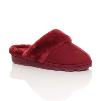 Front right side view of Berry Red Suede Fur Lined Winter Luxury Mules Slippers