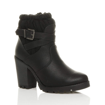 Front right side view of Black PU High Heel Knitted Collar Ankle Boots