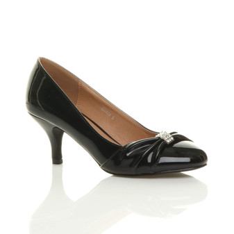 Front right side view of Black Patent Mid Heel Ruched Court Shoes