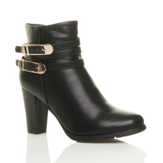 Front right side view of Black PU High Block Heel Buckles Ankle Boots