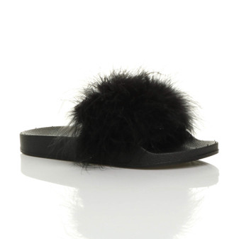 Front right side view of Black Flat Feather Fluffy Flip Flops Sliders Sandals