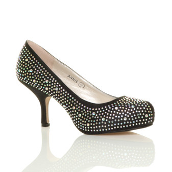 Front right side view of Black Satin Mid Kitten Heel Diamante Court Shoes