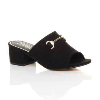 Front right side view of Black Suede Mid Block Heel Buckle Mules Sandals