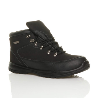 Front right side view of Black Steel Midsole Toe Cap Work Safety Boots
