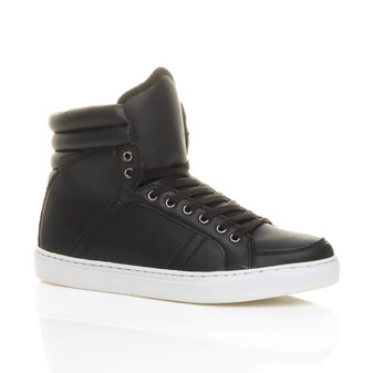 Front right side view of Black PU Flat Lace Up Hi-Top Trainers Ankle Boots