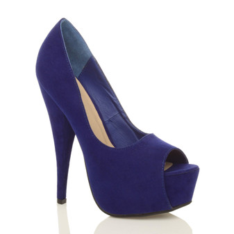 Front right side view of Cobalt Blue Suede High Heel Platform Peep Toe Court Shoes