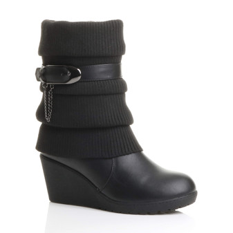 Front right side view of Black PU Mid Heel Wedge Knitted Collar Slouch Ankle Boots