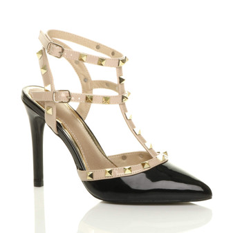 Front right side view of Black Patent High Heel Punk Rock Studded T-Bar Strappy Pointed Shoes