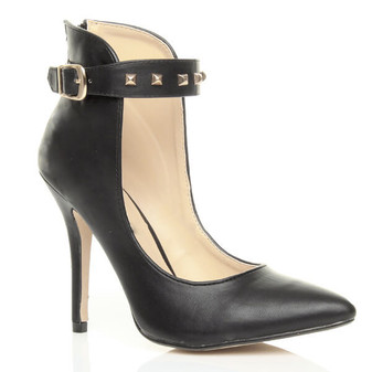Front right side view of Black PU High Heel Ankle Cuff Pointed Court Shoes