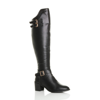Front right side view of Black PU Mid Block Heel Western Riding Over Knee Boots