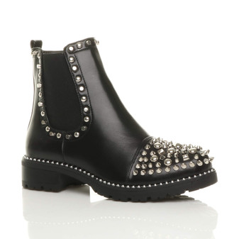 Front right side view of Black PU Low Heel Chunky Studded Chelsea Ankle Boots