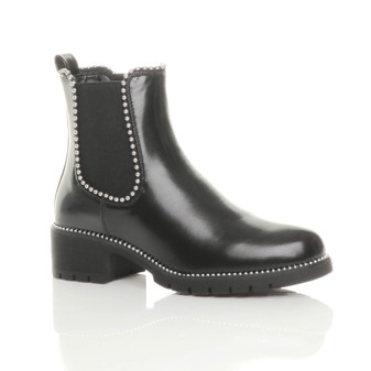 Front right side view of Black PU Low Block Heel Studded Elastic Chelsea Ankle Boots