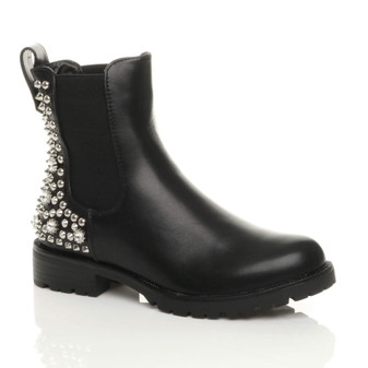 Front right side view of Black PU Flat Low Heel Diamante Studded Spiked Elastic Gusset Chelsea Boots