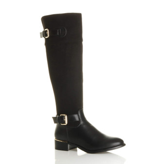 Front right side view of Black PU Low Heel Contrast Riding Calf Boots