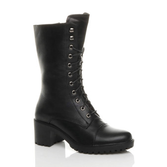 Front right side view of Black PU Mid Block Heel Lace Up Zip Ankle Calf Military Boots