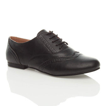 Front right side view of Black PU Flat Lace Up Brogues Oxford Shoes