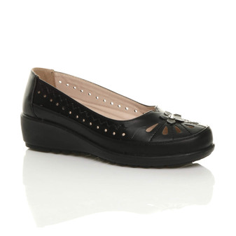 Front right side view of Black PU Mid Wedge Heel Cut Out Slip On Ballerina Comfort Shoes