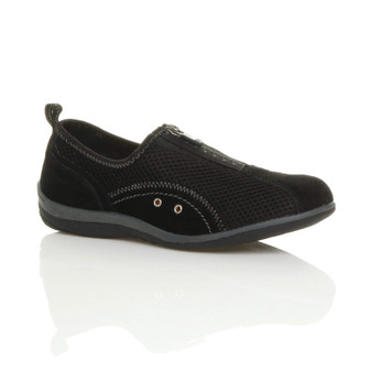 Front right side view of Black Slip On Zip Trainers Comfort Plimsolls