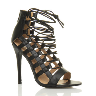Front right side view of Black PU High Heel Strappy Lace Up Ghillie Sandals