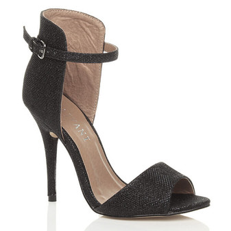 Front right side view of Black Glitter High Heel Contrast Ankle Cuff Sandals