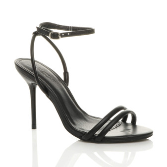 Front right side view of Black PU High Heel Strappy Barely There Ankle Strap Stiletto Sandals