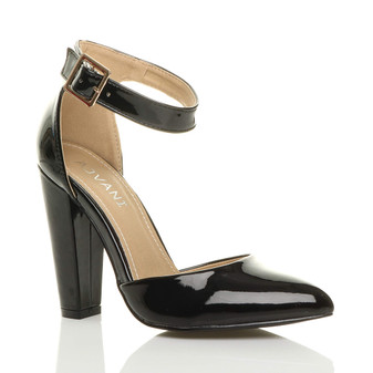 Front right side view of Black Patent High Block Heel Ankle Strap Pointed Court Shoes