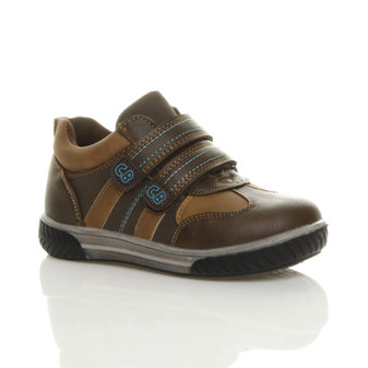 Front right side view of Brown PU Flat Hook & Loop Trainers Shoes