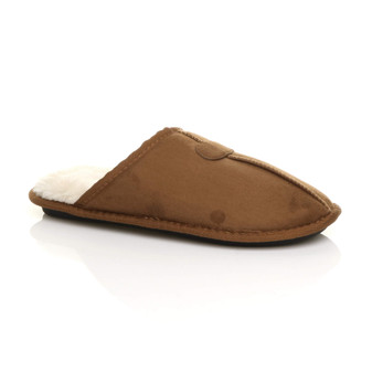Front right side view of Chestnut Winter Fur Lined Memory Foam Mules Slippers House Shoes