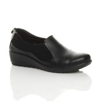 Front right side view of Black PU Mid Wedge Heel Stretch Padded Smart Comfort Shoes