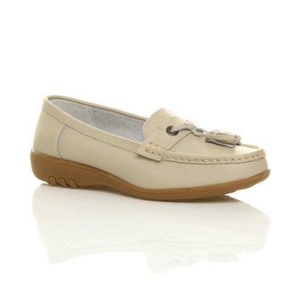 Front right side view of Beige Low Heel Wedge Comfort Boat Shoes Loafers