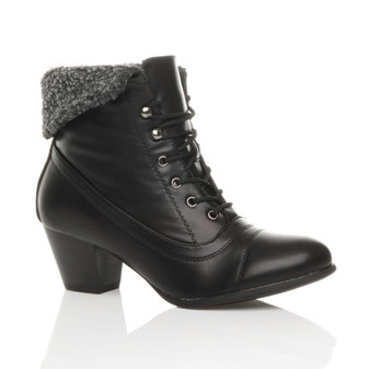 Front right side view of Black Fur PU Mid Heel Fur Cuff Pixie Ankle Boots
