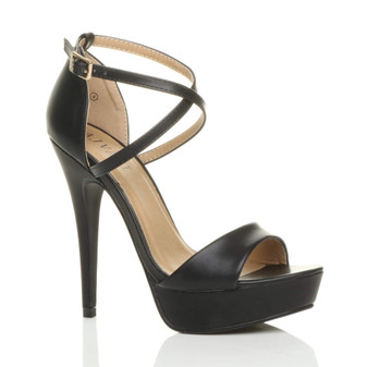 Front right side view of Black PU High Heel Crossed Straps Platform Sandals