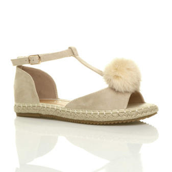 Front right side view of Beige Suede Flat Pom Pom T-Bar Espadrilles Sandals