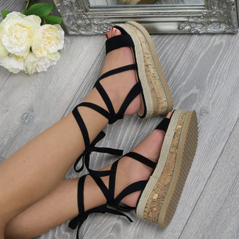 Front right side view of Black Suede Mid Wedge Heel Flatform Diamante Strappy Tie Up Espadrille Platform Sandals