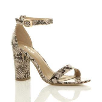 Front right side view of Beige Snake PU High Block Heel Ankle Strap Sandals