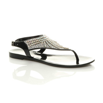 Front right side view of Black Flat Diamante T-Bar Buckle Jelly Beach Toe Post Sandals