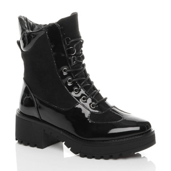 Front right side view of Black Patent Mid Block Heel Lace Up Zip Combat Military Chunky Ankle Boots