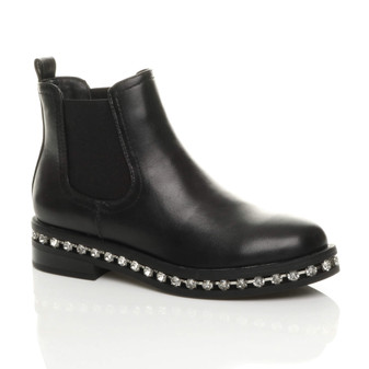 Front right side view of Black PU Low Mid Block Heel Diamante Trim Elastic Gusset Chelsea Boots