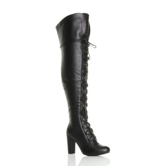 Front right side view of Black PU High Block Heel Lace Up Over Knee Thigh Boots