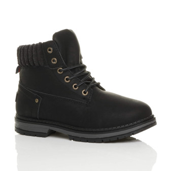 Front right side view of Black PU Low Heel Fleece Cuff Worker Ankle Boots