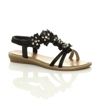 Front right side view of Black PU Flat Low Wedge Heel Strappy T-Bar Diamante Flower Slingback Sandals