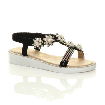 Front right side view of Black Low Wedge Heel Comfort Flatform Diamante Pearl Flower T-Bar Slingback Sandals