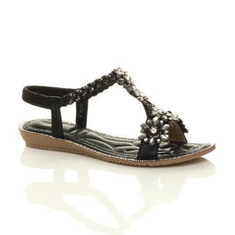 Front right side view of Black Flat Low Wedge Heel Strappy T-Bar Diamante Flower Braided Slingback Sandals