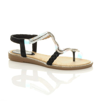 Front right side view of Black Low Wedge Heel Flat T-Bar Diamante Toe Post Perspex Slingback Sandals
