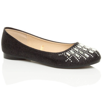 Front right side view of Black Glitter Flat Diamante Ballerina Dolly Shoes