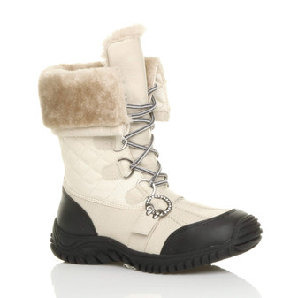 Front right side view of Beige PU Low Heel Winter Quilted Ankle Calf Boots