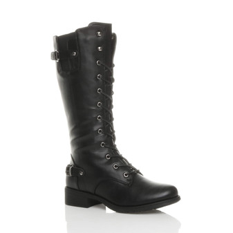 Front right side view of Black PU Low Heel Biker Military Calf Boots