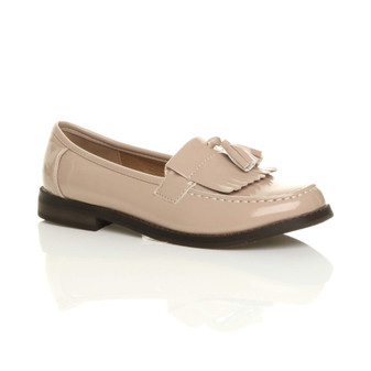 Front right side view of Nude Patent Flat Low Heel Fringe Tassel Loafers
